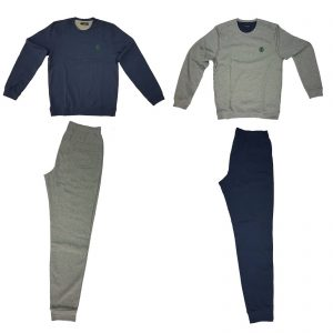 Trussardi nightwear pigiama uomo girocollo con polsini caldo cotone felpato 6111