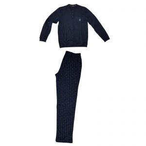 Trussardi nightwear pigiama uomo serafino caldo cotone felpato 609