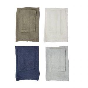 La Fabbrica del Lino set asciugamano viso + asciugamano ospite in puro lino