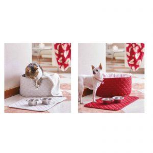 Maison sucrée I Pelosetti cuccia per cane gatto da interno trapuntata semirigida con cuscino e tovaglietta per ciotole Made in Italy