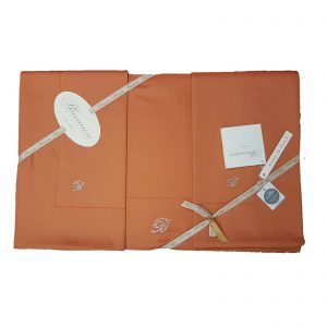 Blumarine completo lenzuola matrimoniale Lory 100% raso di cotone made in italy variante mandarino