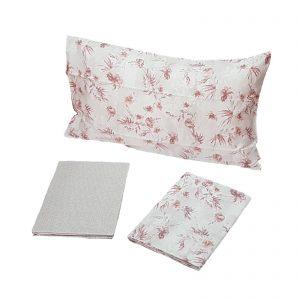 Zucchi Easy Chic completo lenzuola matrimoniale raso di cotone 80 fili disegno Calicanto