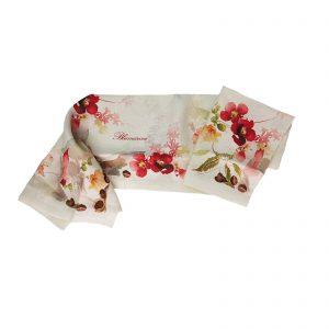 Blumarine tovaglia da tavola in puro lino con stampa piazzata cm. 170×270 castagne rosso