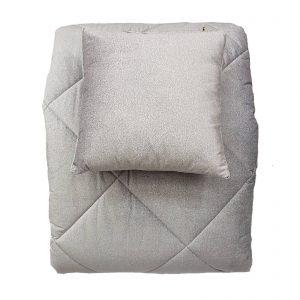 Borbonese Twist Velluto trapunta invernale matrimonile  cm. 270×270 +2 cuscini arredo variante grigio perla