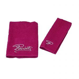 Cesare Paciotti set asciugamano viso + asciugamno ospite spugna Griffe con firma in glitter