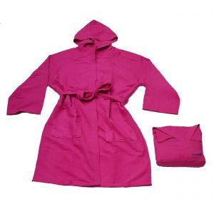 Bassetti time accappatoio con cappuccio microfibra uomo donna unisex con borsa portaccappatoio