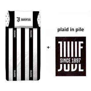 F. C. Juventus nuovo logo completo lenzuola una piazza letto singolo + plaid in pile