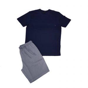 Julipet pigiama uomo estivo girocollo pantaloncino bermuda cotone pregiato