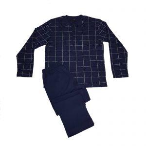 Julipet pigiama uomo estivo serafino fantasia pantalone lungo tinta unita cotone pregiato