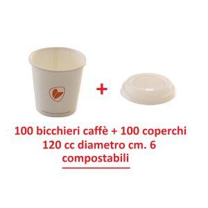 Ecozema 100 bicchieri caffè + 100 tappi 120cc 4oz diametro cm 6 biodegradabile e compostabile in cartoncino + rivestimento interno in Ingeo™ (P.L.A)