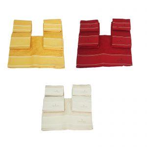 Trussardi completo full 5 pezzi spugna, due asciugamani viso più due asciugamani ospiti più un telo bagno