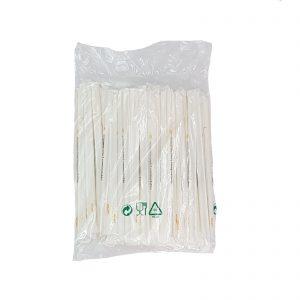 Ecozema 100 Cannucce imbustate singolarmente biodegradabile e compostabile in Bioplast EN13432