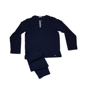 Liu Jo pigiama uomo estivo serafino manica lunga due bottoni blu