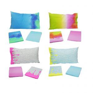 Bassetti completo lenzuola una piazza colori fluo 100% cotone Made in Italy