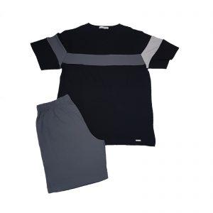 Liu Jo pigiama uomo estivo collo V stretto manica corta pantalone corto nero/grigio