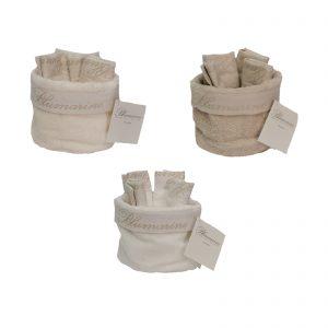 Blumarine set 4 lavette con cestino in 100% cotone di spugna con logo jacquard